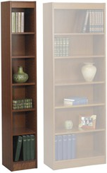 "12"", 24"", & 30"" Wide Wood Veneer Bookcases"