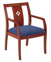 Medium Cherry Wood Guest Chair with Detailed Wood Backrest