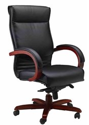 Wood Trim Corsica Leather Office Chair