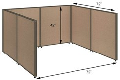 "42""H Wrap Around Open Cubicle for 72""W Desk"