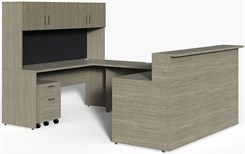 "Wrap-Around Custom Reception Desk w/ Left Bridge, 72""x 102"""