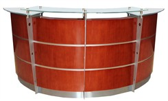 8' Curved Cherry Glass Top Reception Desk