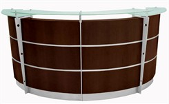 8' Curved Walnut Glass Top Reception Desk