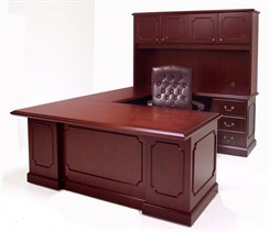 Franklin Traditional Dark Cherry Veneer U-Shape Desk w/Hutch & Right Hand Bridge