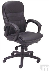 Black Leather Knee-Tilt Office Chair