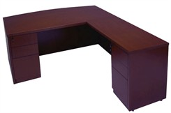 Mahogany L-Shape Conference Desk w/6 Drawers
