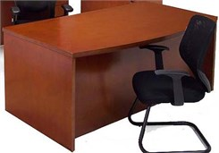 Cherry Bow Front Conference Desk w/6 Drawers