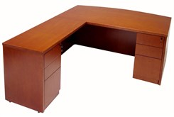 Cherry L-Shape Conference Desk w/6 Drawers