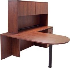 Peninsula L-Shaped Desk with Hutch