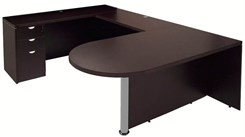 Mocha Peninsula U-Shaped Workstation without Hutch