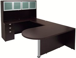 Mocha Peninsula U-Shaped Workstation w/Hutch