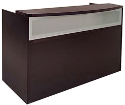 Mocha Rectangular Reception Desk w/Frosted Glass Panel