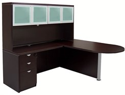 Mocha Peninsula L-Shaped Desk w/Hutch