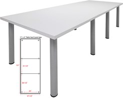 11' x 4' Post Leg Conference Table