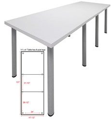 11' x 4' Standing Height Conference Table w/Round Post Legs