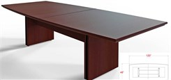 "120"" x 48"" Custom Boat-Shaped Meeting Table"