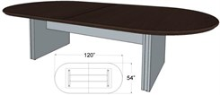 "120"" x 54"" Custom Oval Racetrack Conference Table"