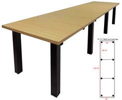 12' x 3' Conference Table w/Square Post Legs