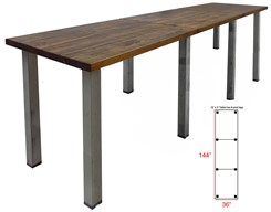 12' x 3' Standing Height Solid Wood Conference Table w/ Industrial Steel Legs