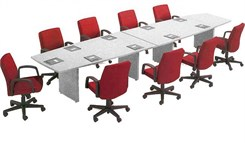 "Custom 12' x 48"" Boat-Shaped Conference Table"