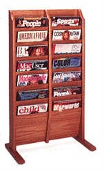 Oak Freestanding Magazine Rack Series -- 14 Pocket Magazine Rack