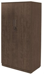 "66""H Modern Walnut Locking 2-Door Storage Cabinet"
