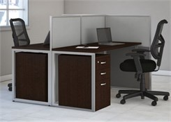2-Person Straight Cubicle Workstation w/ Files