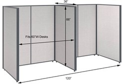 "66""H 2-Person Single Row Open Cubicle for 60""W Desks"