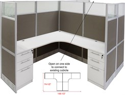"12'W x 6'D x 67""H Value Series Complete 2-Person L-Shaped Lateral Add-On Office Cubicles w/Files"