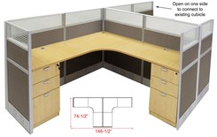 "12'W x 6'D x 48""H Value Series Complete 2-Person L-Shaped Lateral Add-On Office Cubicles w/Files"