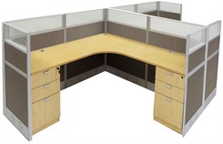 "12'W x 6'D x 48""H Value Series Complete 2-Person L-Shaped Office Cubicle w/Files"