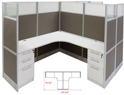 "12'W x 6'D x 67""H Value Series Complete 2-Person L-Shaped Office Cubicles w/Files"