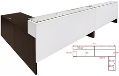 "Emerge Glass Top L-Shaped 2-Person Reception Desk w/Drawers & LED Lights - 142""W"