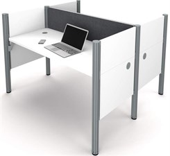 White 2-Person Back-to-Back Cubicle Workstation