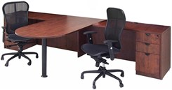 Cherry Laminate 2-Person Peninsula Workstation
