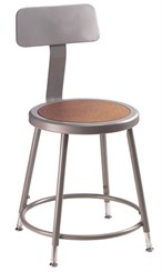 "25""-33"" Adjustable Height Heavy-Duty Lab Stool w/Backrest - 300-lb Weight Capacity"