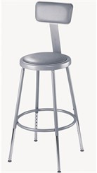 "25""-33"" Adjustable Height Heavy-Duty Padded Lab Stool w/Backrest - 300-lb Weight Capacity"