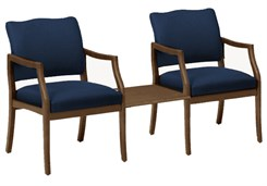 Franklin 2 Arm Chairs w/Center Table in Standard Fabric or Vinyl