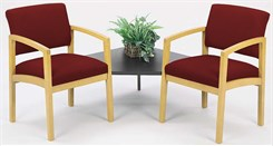 Lenox 2 Chairs w/Connecting Corner Table in Upgrade Fabric or Healthcare Vinyl