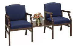 Bristol 2-Arm Chairs w/Center Table in Standard Fabric or Vinyl