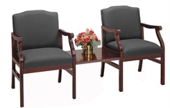 Bristol 2-Arm Chairs w/Center Table in Upgrade Fabric or Healthcare Vinyl