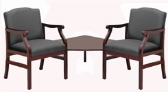 Bristol 2-Arm Chairs w/Corner Table in Upgrade Fabric or Healthcare Vinyl