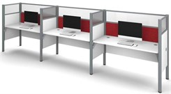 White 3-Person Cubicle Workstation w/ Windows