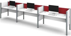White 3-Person Cubicle Workstation