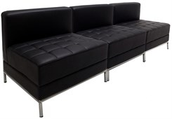 Black Tufted Modular 3-Seat Armless Sofa