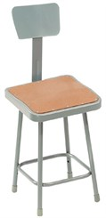 "30"" Square Fixed Height Heavy-Duty Stool w/Backrest - 300-lb Weight Capacity"
