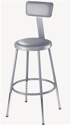 "31""-39"" Adjustable Height Heavy-Duty Padded Lab Stool w/Backrest - 300-lb Weight Capacity"
