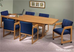 "31""/36"" x 72"" Solid Oak Boat Shaped Conference Table"