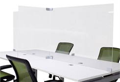 "32""H Clear Acrylic Dividers for Benching Workstations & Conference Tables - 4-Person  8'x4' Divider Pkg. - IN STOCK!"