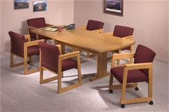 "36"" x 72"" Solid Oak Curved End Conference Table"
